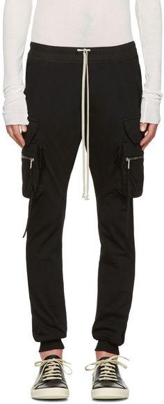 RICK OWENS Black Drawstring Cargo Jog Trousers. #rickowens #cloth #trousers