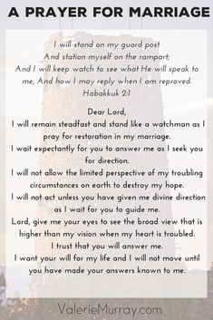 Prayer quotes:Are you praying for answers in your marriage? When Habakkuk wanted answers he acted as a watchman and prayed. Here's a prayer for guidance as you stand guard and wait for God to answer. Prayer For My Marriage, Biblical Marriage, Broken Marriage, Strong Marriage, Happy Marriage, Marriage Advice, Love And Marriage, Prayer For Marriage Restoration, Restore Marriage