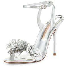 Sophia Webster Lilico Floral Leather 105mm Sandal ($635) ❤ liked on Polyvore featuring shoes, sandals, silver, ankle tie sandals, leather strap sandals, strappy high heel sandals, leather ankle strap sandals and strap sandals