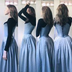 Pretty Outfits, Pretty Dresses, Beautiful Dresses, Cute Outfits, Vintage Dresses, Vintage Outfits, Vintage Fashion, 18th Century Stays, 18th Century Dress