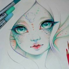 @lighane Underwater mermaid shell girl Copic