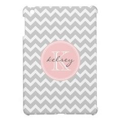 Gray and Pink Chevron Custom Monogram iPad Mini Covers