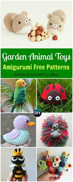 Collection of Crochet Amigurumi Garden Animal Toys Free Patterns: Amigurumi Duck, Ladybug, Parrot, Hedgehog, Squirrel, Frog and MORE via /diyhowto/
