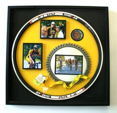A cyclist's dream collection. Signed bike rim with medal and lanyard.The photos really tell the story!