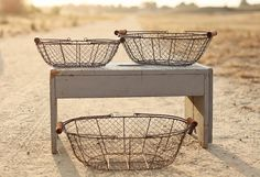 """Set of 3 Rustic Vintage Silver Wire Baskets, Oval w/ Wooden Handles """"Shabby Chic"""" Wedding on Etsy, $49.95"""