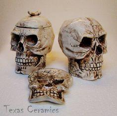 Aged Human Skull Ceramic Creamer & Sugar Bowl with Skull Spoon Rest Set.