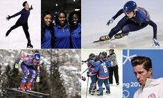 Clockwise from top left: the USA figure skater Nathan Chen, the Nigerian women's bobsleigh team, Elise Christie during speed skating practice, USA's snowboard athlete Shaun White, the unified Korea ice hockey team celebrate during the 3-1 practice defeat to Sweden and the downhill skier Mikaela Shiffrin of the USA.