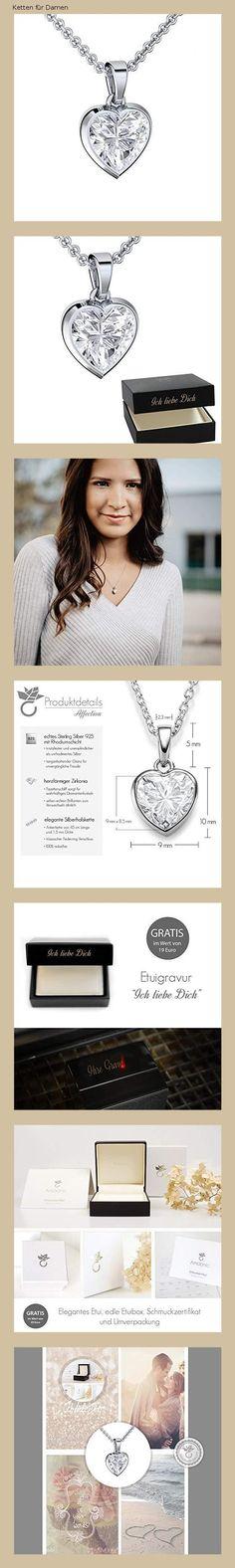 a0c597d2cada Herzkette Silber 925 Kette Damen Halskette ❤ Zirkonia Stein Geschenk Etui  mit Gravur Echt Anhänger