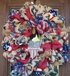 BURLAP PATRIOTIC WREATH by decoglitz on Etsy