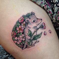 Floral hedgehog for Helena. Thank you! #hedgehog #hedgehogtattoo
