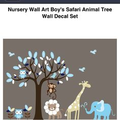 Nursery Wall Art Boy's Safari Animal Tree Wall Decal Set - $79.99 on Overstock.com