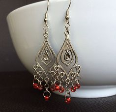 Siam Red Czech Glass Bead and Oxidized Silver Chandelier Earrings