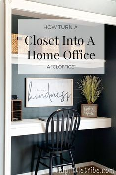 How I got rid of an entire closet full of clothes and turned my closet into a cozy little home office. How I got rid of an entire closet full of clothes and turned my closet into a cozy little home office. Home Office Closet, Closet Desk, Home Office Organization, Home Office Space, Closet Turned Office, Loft Closet, Apartment Office, Home Design, Home Office Design