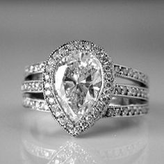 Pear Shaped Diamond Engagement Ring from Oliver Smith ...
