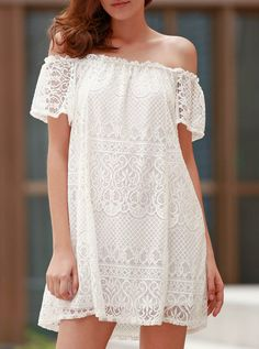 Chic Off The Shoulder Loose-Fitting White Mini Dress For Women