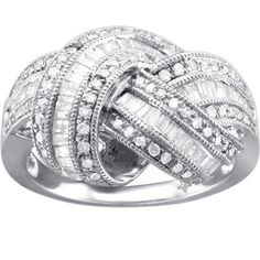 850 1 CT. T.W. Diamond Knotted Twist Band in 10K White Gold - Zales