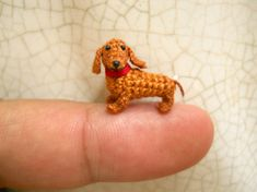 0.6 Inch Brown Dachshund - Micro Mini Crochet Dog Stuffed Animal