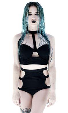 Tao Swim Briefs #disturbiaclothing disturbia alien goth occult grunge alternative black summer goth beach goth swimwear strapped high waisted
