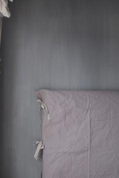 Headboard in linen Dark Interiors, Beautiful Interiors, Half Painted Walls, Lime Paint, My Ideal Home, Scandinavian Bedroom, Cool Beds, Headboards For Beds, Modern Bedroom