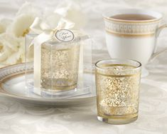 """Golden Renaissance"" Glass Tealight Holder (Set of 4)  wedding favors market.com"