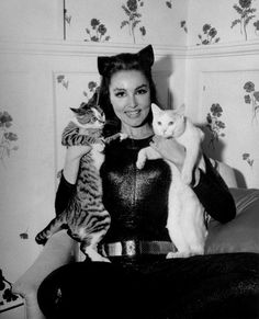 Julie Newmar as Catwoman with a couple of feline friends.