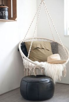 "This relaxing hanging chair is from our feature ""Go Bold"""