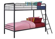 DHP Twin Over Twin, Metal Bunk Bed - Black //http://bestadjustablebed.us/product/dhp-twin-over-twin-metal-bunk-bed-black/
