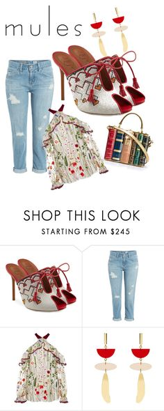 """""""eclectic mules"""" by eva-jones-i ❤ liked on Polyvore featuring Malone Souliers, AG Adriano Goldschmied, Alexis, Isabel Marant and Dolce&Gabbana"""