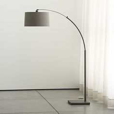 Dexter Arc Floor Lamp with Grey Shade $269 Crate & Barrel