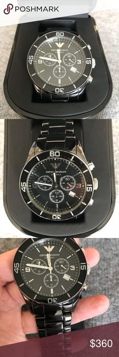 Emporia Armani Men's ceramics Watch. Armani ceramics AR1421 Chronograph sports watch Classic 3 eyes design with fixed bezel. Emporio Armani Accessories Watches