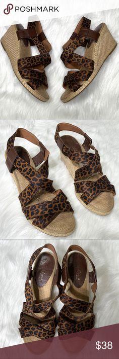 fdd0e2292 Lucky Brand Cheetah Espadrille Wedge Sandals Lucky Brand cheetah print  espadrille wedge sandals. Slip on