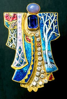 "by Marianne Hunter risaille & Foil Enamels Chalcedony Tanzanite Diamonds Ruby 24K - 14K (Yellow & White) Fabricated & Engraved 1 - 7/8"" x 3-1/16"" x 5/16"""