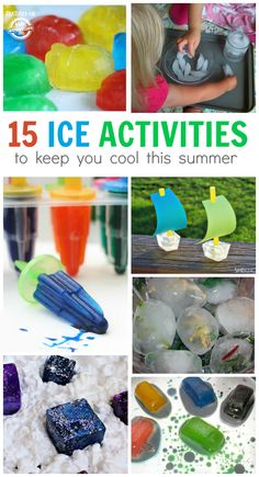 So many fun ice activities for kids to play with outside and keep cool.