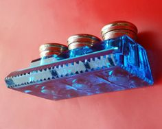 c1920-Rare-Old-Vintage-Crystal-Cut-Heavy-Blue-Glass-Ink-Well-3-Brass-Cap-Antique