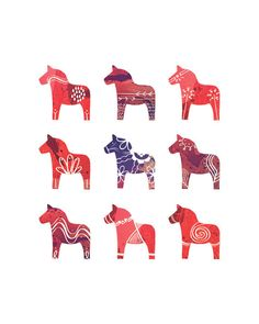 Swedish Dala Horse Print  8 x 10  Scandinavian Print  by redstuga, $16.00