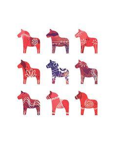 Swedish Dala Horse Print  8 x 10  Scandinavian Print  door redstuga, $16.00