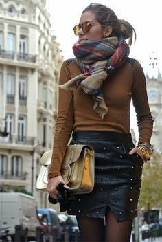 bpla'style by belén plá: OUTFIT | Total Biker Look + Tartan Plaid Scarf