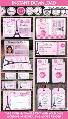 Paris Party Invitations & Decorations full by SIMONEmadeit Invitation Fete, Paris Invitations, Passport Invitations, Shower Invitations, Paris Themed Birthday Party, Birthday Party Invitations, Birthday Party Themes, Paris Theme Parties, Birthday Ideas