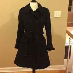DKNY Black Belted Wool Coat 70% wool 20% nylon 10% cashmere. Belted trench style overcoat.  Size 2P. DKNY Jackets & Coats Trench Coats