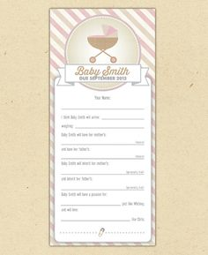 Baby Shower Game (Girl) - Customized Printable Predictions Game