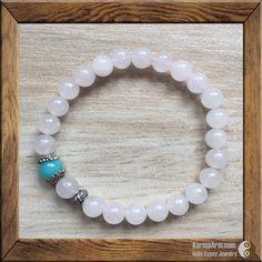 LOVE: Rose Quartz + Aquamarine Yoga Mala Bracelet – Karma Arm
