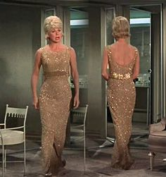 If I were a clothing designer, I would design this dress worn by Doris Day in The Thrill of It All. The dress was designed, I think, by Jean Louis. But anything on Doris Day looks good.