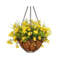 Dancing Daisy Artificial Hanging Basket Yellow ($41) ❤ liked on Polyvore featuring home, home decor, floral decor, yellow, outdoor artificial flowers, artificial flowers, artificial flower stems, fake flowers and artificial flower arrangement