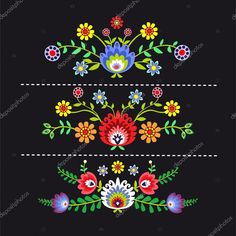 Illustration about Polish pattern folk, flowers background. Illustration of drawing, culture, wallpaper - 56867694 Polish Embroidery, Mexican Embroidery, Simple Embroidery, Folk Embroidery, Learn Embroidery, Hand Embroidery Patterns Free, Embroidery Flowers Pattern, Embroidery Designs, Pattern Flower