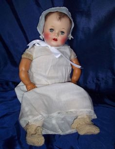 "Ideal 20"" baby doll with clothing, 1950's.  This looks like my baby doll (soft body), but mine had a pillow she lay upon."