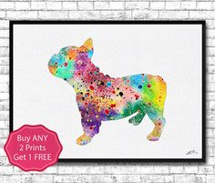 French Bulldog Watercolor Print Dog art Watercolor by ArtsPrint