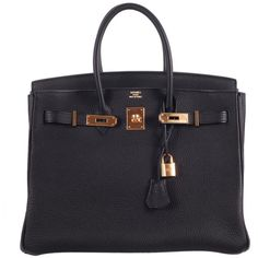 BEYOND HERMES BIRKIN BAG 35cm BLACK WITH GOLD HARDWARE (32 790 AUD) ❤ liked on Polyvore featuring bags, handbags, purses, bolsas, hermes, black bag, hermes purse, hermes bag, black purse and black handbags