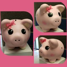 Rosa puerquito alcancia Valentine Crafts, Valentines, Personalized Piggy Bank, Paper Mache Clay, Cute Pigs, Little Pigs, Origami Paper, Cute Drawings, Decoupage
