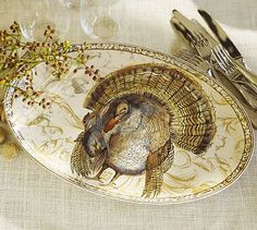 6. Pottery Barn Turkey Serving Platter - 7 Gorgeous Thanksgiving Décor Items … | All Women Stalk