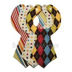 Designer Baby Necktie Bibs Set of 3 by babyglobefrogger on Etsy